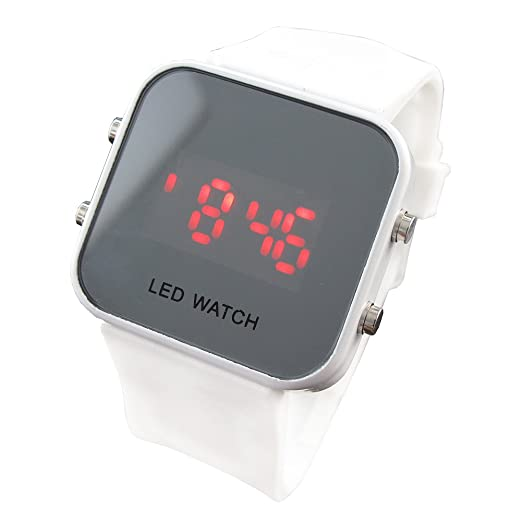 youyoupifa Unisex Espejo Dial Digital LED reloj deportivo (Blanco)