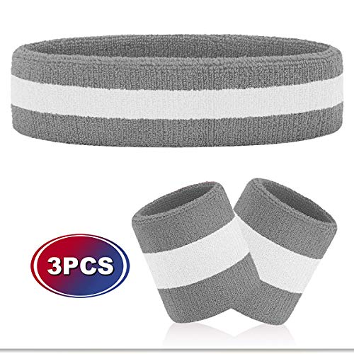 Hoter Sweatband Set Sports Headband Wristband Set Sweatbands Terry Cloth Wristband Athletic Exercise Basketball Wrist Sweatband and Headbands Moisture Wicking Sweat Absorbing Head Band
