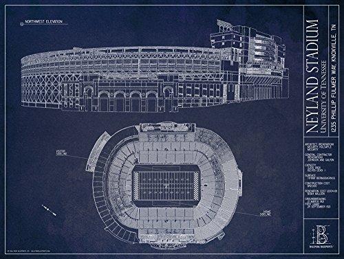 (Neyland Stadium - University of Tennessee - Blueprint Style Print (Unframed, 18