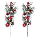 TINGOR 2 Pack Red Berry Stems Artificial Pine Picks for Christmas Tree Decorations, Christmas Flower Arrangements Wreaths, Garlandsand Holiday Decor, 19 Inches