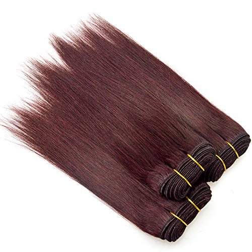 4pcs/Lot 200g Brazilian Human Hair Extensions Straight Red Wine Color Hair Weaves Short Bob 8 Inch Burgundy Cheap Hair Bundles 99j Human Hair - Red Wine Inch 8