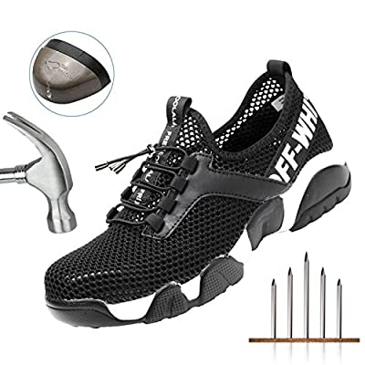 UPSTONE Indestructible Work Shoes Mens, Mesh Breathable Lightweight Comfortable Steel Toe Safety Industrial Construction Slip Resistant Shoes