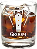 Engraved Tuxedo 11 oz Wedding Party Rocks Glass - Will You Be My? Whiskey Glass (Groom)