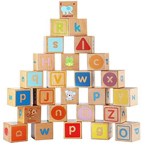 Lewo 26 PCS Wooden ABC Alphabet Building Blocks Stacking Games Montessori Educational Toys for Kids]()