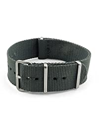 StrapsCo 22mm Dark Grey 3-Ring G10 Ballistic Nylon Nato Zulu Watch Strap