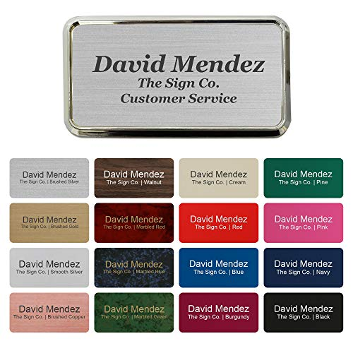 "Personalized Name tag ID Badge - Trophy Picture Label with Magnetic or pin Backing. Customize - 1.5"" x 3"" - Round Corners - 3 Lines with Badge Frame Holder"