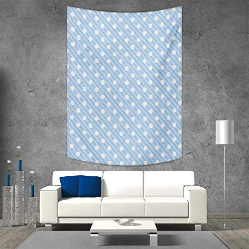 smallbeefly Retro Wall Tapestry Retro Nostalgic Polka Dots Sky Blue Background in Soft Tones Artistic Simplistic Image Home Decorations Living Room Bedroom 60W x 80L INCH Baby Blue ()