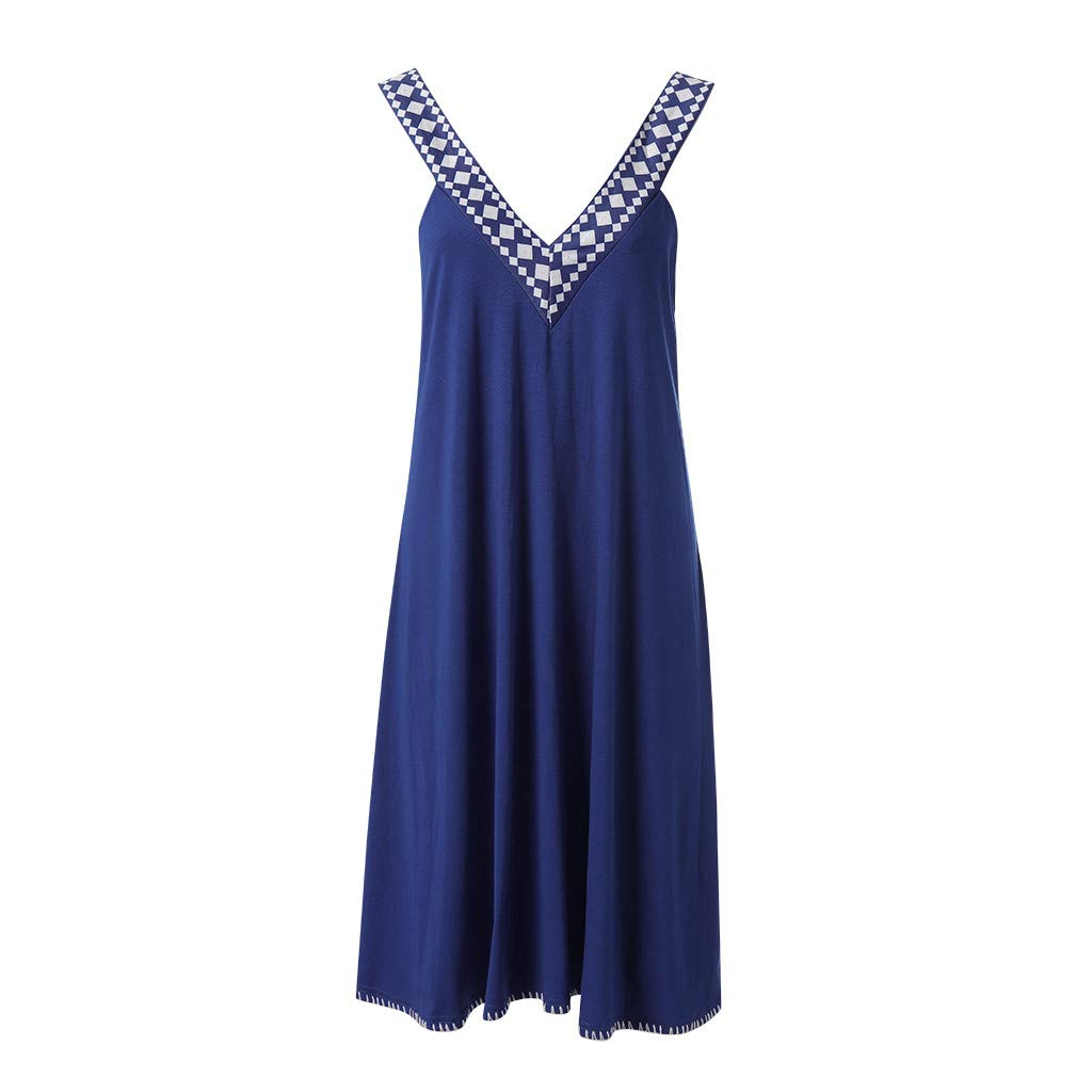 Sagton Dresses for Women Casual Summer Lace Up Pomisi Backless Beach Party Dress