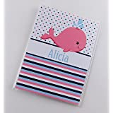 Baby Girl Photo Album IA#851 Pink Whale Nautical Baby Shower Ahoy Birthday Personalized Name Gift 4x6 or 5x7 Pictures Name Message Grandparents Gift