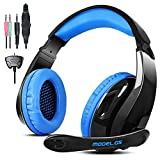 LETTON PS4 Gaming Headphones G5 3.5mm Stereo Sound PC Gaming Headset with Microphone,Over Ear Noise Canceling for Xbox One /Mac,Black/Blue