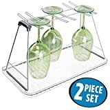 Glass Kitchen Countertops mDesign Free Standing Wine Glass Drying Rack and Dish Drain Board for Kitchen Countertops - Set of 2, Satin/Clear