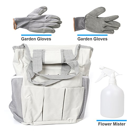 Garden Tool Set 9 Piece- Includes Garden Tote, Spray Bottle, Work Gloves and 6 Heavy Duty Stainless Steel Hand Tools by WayWay Life (Image #2)