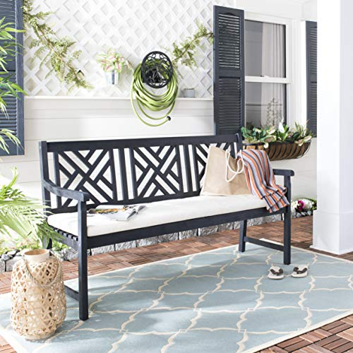Safavieh PAT6738K Outdoor Collection Bradbury Grey 3 Seat Bench, Dark Slate Gray/Beige