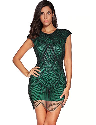 Women's 1920s Vintage Gatsby Sequin Embellished Flapper Dress (L, Green)