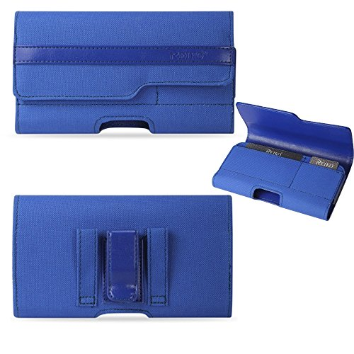 Blue Wallet Case with Credit Card and Cash Slots fits iPhone 5s, iPhone 5c, iPhone 5 with Otterbox Defender Case on it.