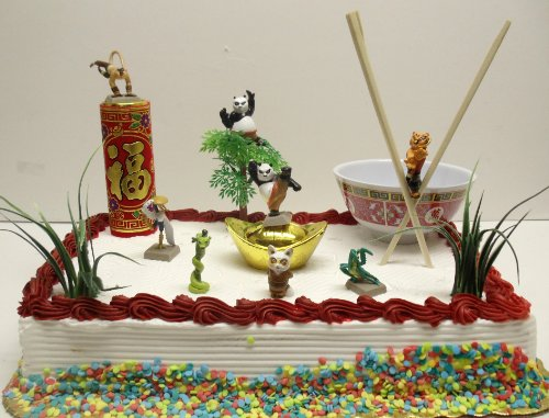 Magnificent Kung Fu Panda 15 Piece Birthday Cake Topper Set Featuring Po Funny Birthday Cards Online Alyptdamsfinfo
