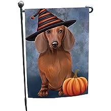 Happy Halloween Dachshund Dog Wearing Witch Hat with Pumpkin Garden Flag GF318