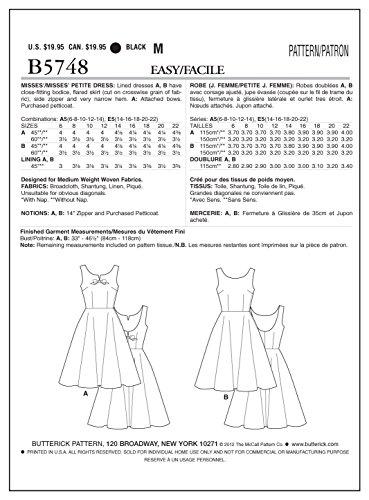 Butterick BTK 5748 A5 (6-8-10-12-14) B5748 Schnittmuster zum Nähen ...