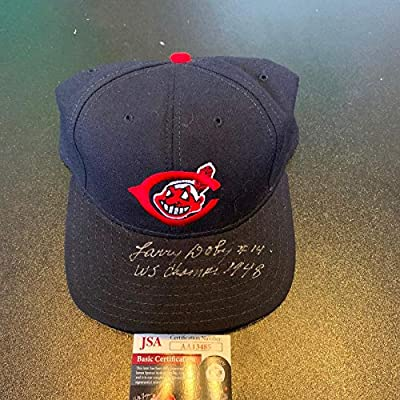 """Larry Doby""""#14 1948 World Series Champs"""" Signed Cleveland Indians Hat COA - JSA Certified - Autographed Hats"""