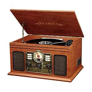 Victrola Nostalgic Classic Wood 6-in-1 Bluetooth Turntable Entertainment Center, Mahogany