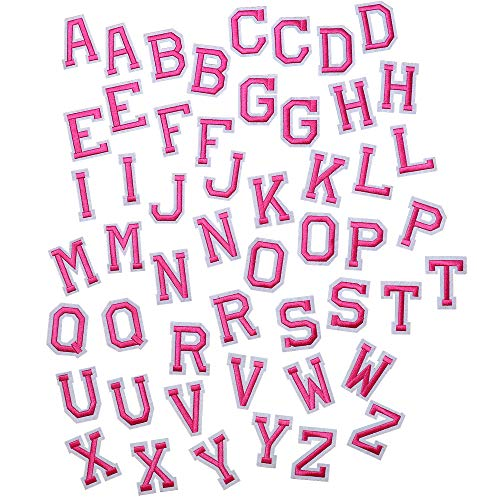 SHELCUP Iron on Letter Patch for Clothes, 52pcs Alphabet A to Z Word Iron-on Patches, Sew-on Appliques for Jeans/Jackets/Backpacks/Kids Clothing to Cover Rip/Logo, Classic Pink