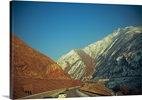 mium Thick-Wrap Canvas Wall Art Print entitled Traffic on the road, Interstate 80, Wasatch Mountains, Salt Lake City, Utah 24