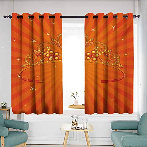 AndyTours Sliding Door Curtains,Queen Fancy Halloween Princess Crown with Little Skull Daisies on Radial Orange Backdrop Stars,Hipster Patterned,W55x72L,Orange -