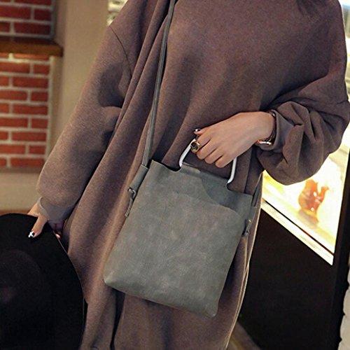 Bolsa Gris De Esailq gris Piel 001 Sac Femme Hombro 001 Bandoulière wH6qZH0d