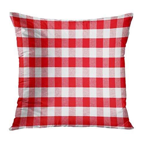 UPOOS Throw Pillow Cover White Gingham Red Checked Tablecloth Table Cloth Decorative Pillow Case Home Decor Square 18x18 Inches Pillowcase -