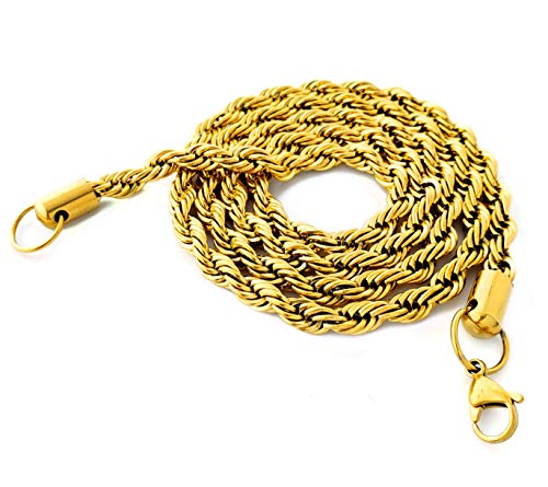 (Alpha Glace 18k Gold Plated Stainless Steel Rope Chain (20))