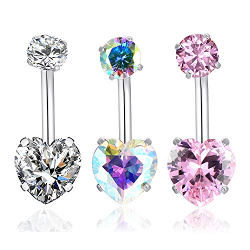 14G Surgical Steel Belly Button Rings Heart Cubic Zirconia Navel Barbell Stud Body Piercing for Women Girls … (3 Pcs(Clear+AB -