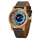 Leather Wooden Watch,BIOSTON Natural Handmade 40mm Unisex Design Wood Grain Wrist Watches (UW1008Mango)