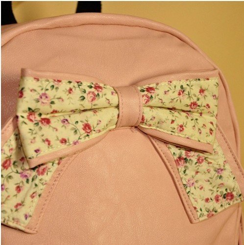 Cute Butterfly Knot Fashion BackPack Denim Cloth Lace Sweet Cute Style Cross Shoulder School Bag (Pink)