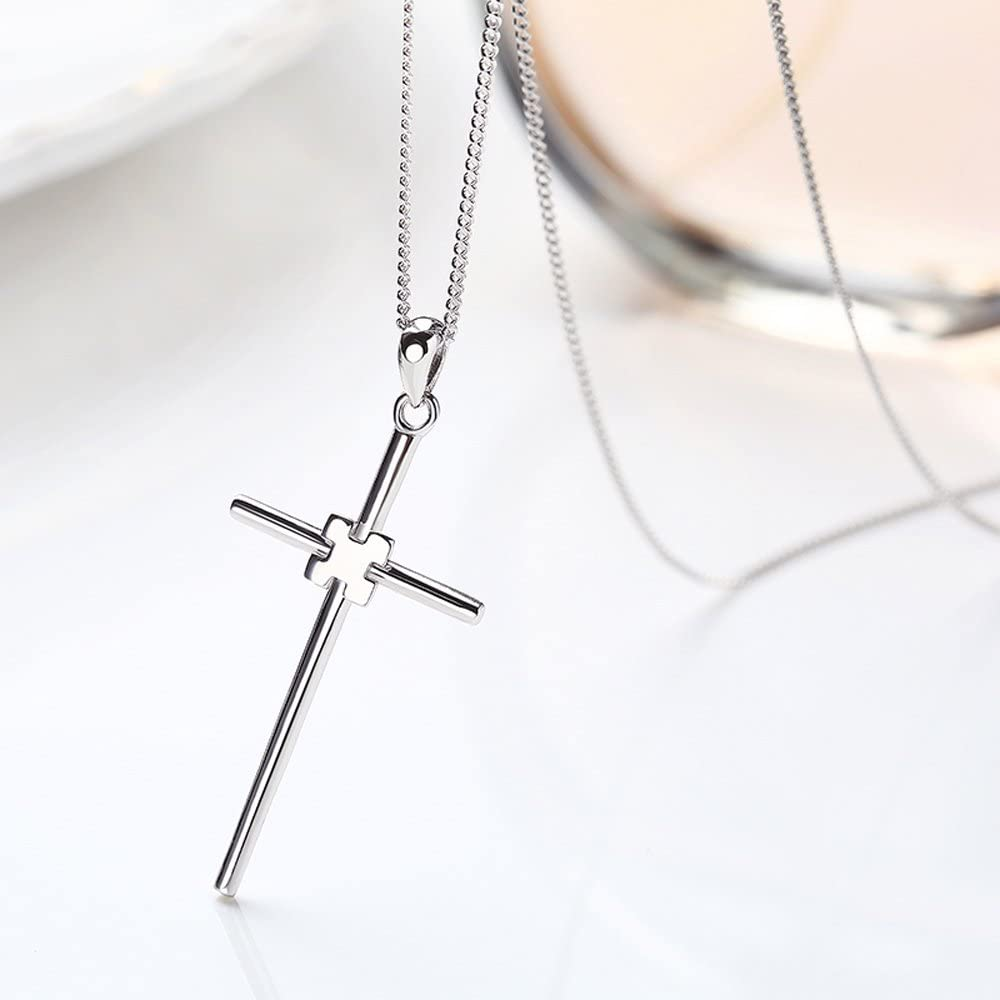".925 Sterling Silver Round and Religious Cross Charms with Swarovski Birthstone Crystal or Freshwater Cultured Pearl Pendant Necklace 16/""-20/"" Lengths"