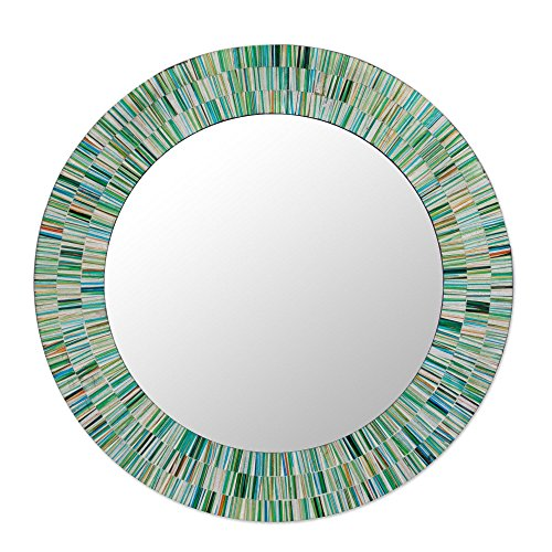 NOVICA Green and Blue Glass Mosaic Wood Framed Round