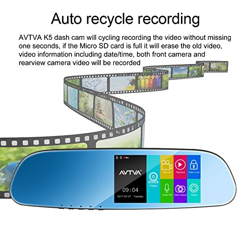 """AVTVA AMK5-USA Rearview Mirror with Dash Cam Backup Camera 5"""" IPS Touch Screen FHD 1080P Front and Rear Dash Cam With IP 67 Waterproof Rear View Reverse Back up Camera with star level night vision by AVTVA (Image #1)'"""