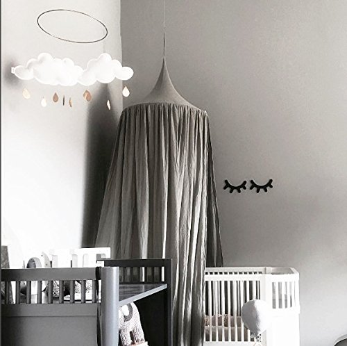 Children Bed Canopy Round Dome, Cotton Mosquito Net, Kids Princess Play Tents, Room Decoration for Baby Indoor Outdoor Playing (Gray) by Fangsi (Image #7)