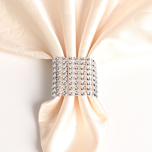 sexyrobot Rhinestone Napkin Rings Wedding Adornment, Napkin Holder for DIY Party Banquet Birthday, Silver (50PCS)