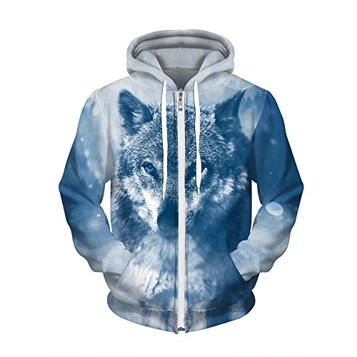 Thin Sweatshirts Snow 3D AMOMA Wolf with Print Digital New Hoodie Sweaters Athletic Velvet Zip Z0ZqFSA