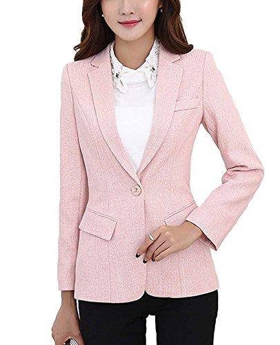 MFrannie Womens Cotton & Linen Tweed Blazer One Button Office Work Jacket Pink - Women Linen Blazer