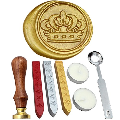FQL Crown Vintage Rosewood Wax Seal Stamp Set With Gold Red Silver Sticks (Wax Stamp Seal Crown compare prices)