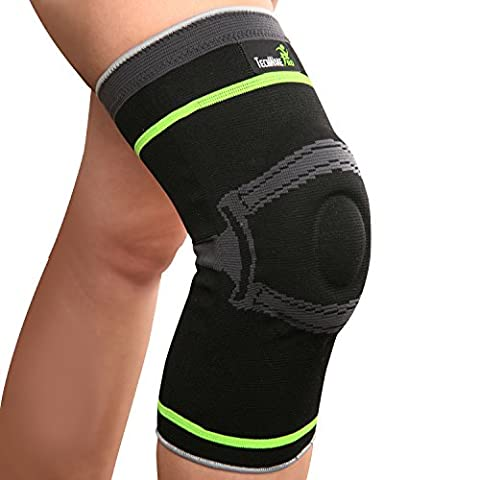 TechWare Pro Knee Compression Sleeve - More Than a Support Brace. Side Stabilizers & Patella Gel Pad Added. For Arthritis, Joint Pain Relief & Injury Recovery. Sports, Running, Basketball. 1 Pack