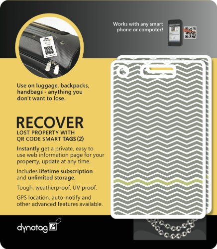 Dynotag Web Enabled Smart Fashion Luggage ID Tags, with DynoIQ & Lifetime Recovery Service. 2 Identical Tags+Chains (Waves)