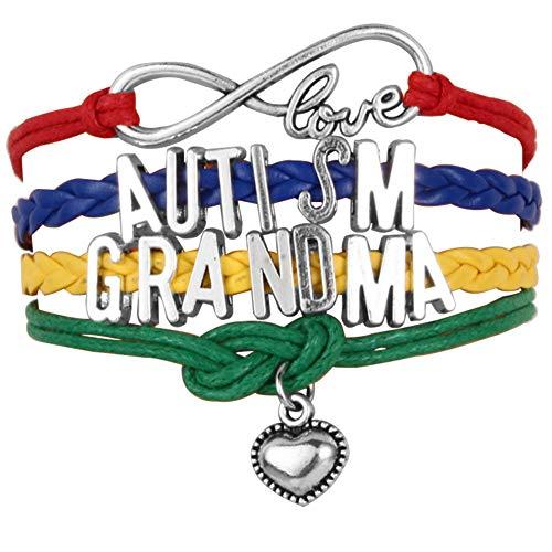 JewelryJo Infinity Love Heart Jigsaw Puzzle Autism Awareness Braided Leather Rope Wrap Bracelets Dad Mom Grandma Nana Sister Aun