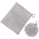Senpulism Cast Iron Cleaner, Durable 316L Stainless Steel Chainmail Scrubber, Anti-rust Chain Cleaner for Pan Pot Dutch Oven, Big Square Ringer Skillet Steel Scrubber + Small Round Cast Iron Cleaning