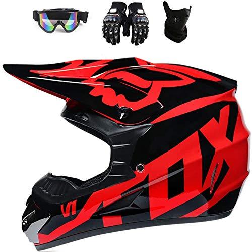 Fullface MTB Helm, Motocross Helm, Downhill Helm, Kinder Cross Helm mit Zwei unterschiedlich großen Innenfutter, ABS…
