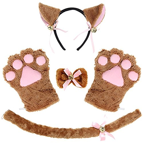Coffee Halloween Costumes (Kitty Cat Cosplay Set Ears Tail Collar Paws Hallowmas Accessory (coffee))
