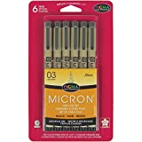 Sakura Pigma 50037 Micron Blister Card Ink Pen Set, Black, 03 6CT