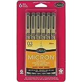 SAKURA Pigma Micron - Juego de bolígrafos de Tinta, Pigma Micron, Negro, 03 6CT, 1