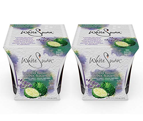 White Swan Premium Scented Candle (Lavender Bergamot) & Large Candle Set - Long Lasting -30 Hrs | Pure Natural Strong Fragrance Ideal for Bath or Bedroom to Eliminate Odor, Stress Relief